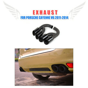 Rear Exhaust Tips Muffler Ends Long Pipe Fit For Porsche Cayenne V6  2011-2014