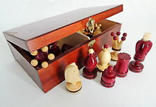 NEW RED KINGS HANDCRAFTED WOODEN CHESSMEN / PIECES IN HANDMADE BROWN STORAGE BOX