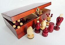 Rojo REYES hecho a mano de madera piezas Ajedrez / en marrón Caja almacenaje