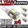 4x 5 SMD LED XENON WHITE SIDE LIGHT BULB 501 W5W T10 PUSH WEDGE 360 DEG UK