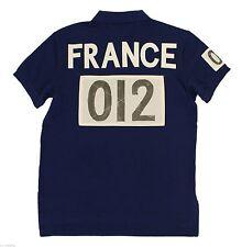 Ralph Lauren Men Navy  Shirt France Flag Big Pony Small S  Custom-Fit RL Olympic