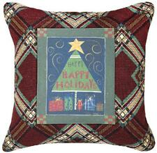 Holiday Trees Christmas Plaid Tapestry Square Pillow ~ Cindy Shamp