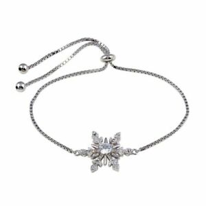 "LARIAT BRACELET WITH ""SNOWFLAKE"" / LAB DIAMOND ACCENTS/ 925 STERLING SILVER"