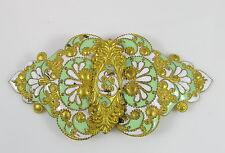 Anitque Gold Gilt Brass Green&White Enamel Shell&Dot Belt Dress Sewing Buckle