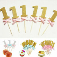 10Pcs/set 1st birthday cake topper one first year anniversary Boy girl Glitter