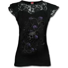 Spiral - Entwined Skull - Womens Lace Layered Cap Sleeve Top 2xs