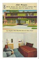 Vintage Postcard Los Angeles CA Hotel Mariposa Drive-In Motor Multi-view Linen