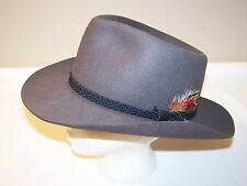 Australia Outback Fedora Felt Hat Gray - Genuine Fur - Ex Condition - Size L