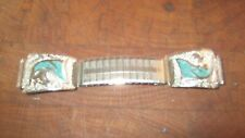Vintage Stainless Steel Stretch Watchband Turquoise Horse Heads