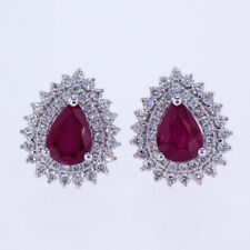 2.10 CT Diamond and Pear Shape Ruby Earrings 18K White Gold