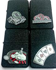 COBALT GRAZED METAL STAR BRAND FLIP LIGHTER CASINO ROULETTE DICE CARDS POKER ACE