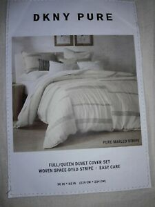 DKNY Pure Marled Stripe Full/ Queen Duvet Cover Set In Cream Color