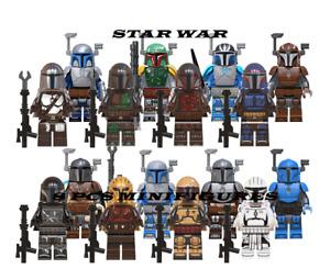16 Pcs Minifigures Star Wars Mandalorian Armor Boba Fett Jango Fett Legoes MOC