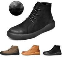 Men Genuine Leather Casual Shoes Oxford Sole Chelsea Boots Winter Warm Sneakers