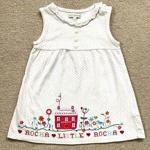 ROCHA JOHN ROCHA BABY GIRL 9-12 Months embroidered Dot Jersey Dress VGC RP £15