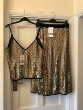 New Zara Woman Limited Edition Gold Sequin Party Midi A-Line Skirt & Top,Medium