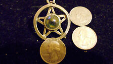 bling pewter 5 POINT STAR circle witch pendant charm rope chain hip hop necklace