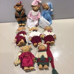 Job lot vintage Russ Teddy Town Bears x8 Robin Hood Bedtime Christmas Angel