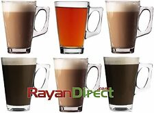 SET OF 6 LATTE TEA COFFEE HOT DRINK GLASS CAPPUCCINO CUPS MUGS - QUALITY