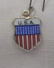 Vintage REU Silver Plated/Enamel U.S.A. Flag Shield Bracelet Charm - NOS