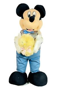 """Disney Mickey Mouse Porch Greeter with Easter plush Chick 26"""" Tall Springtime"""