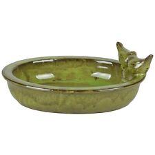 Fallen Fruits Oval Ceramic Bird Bath - Green