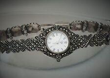 "Pretty 7 1/4"" Delicate Sterling Silver Marcasite Chevron Heart Band Watch"