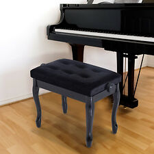 "25""L Piano Bench Adjustable Height Keyboard Lint Padded Seat Curved Leg w/ Knob"