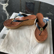 Tory Burch Cork Wedges Flip Flops Size 7.5 Black Patent Leather Platform