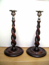 PAIR OF OAK ANTIQUE BARLEY TWIST CANDLESTICKS WITH ORNATE  SCONCES