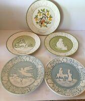 "Set of FIVE Vintage METLOX  8 1/2"" Christmas Plates 1971 1973 1975 1976 1977"