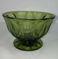 Vintage Indiana Glass Green Pedestal Compote Candy Dish 4x6