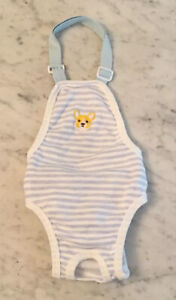 Sz Large soft Dog One Piece Halter Outfit PJs CORGI Patch Blue & White Striped
