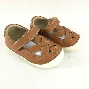 Old Soles Toddler Girls Sandals Closed Toe Leather Strappy Hook & Loop Brown 5