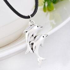 PD: 1 Halskette Charms Delphin Anhänger Schwarz Wachsschnur Silberfarbe 50cm