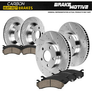 For Jeep Grand Cherokee SRT Front+Rear Drilled Brake Rotors +Carbon Ceramic Pads