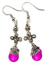 Long Silver Cerise Pink Celtic Earrings Drop Dangle Glass Bead Pierced Hook