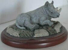Vintage Resin Figi Figure Base Wood Rhino Rhinoceros