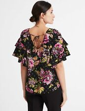 MARKS & SPENCER M&S PER UNA FLORAL PRINT RUFFLE SLEEVE TOP 6 8 10 12 14 18 20