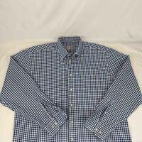 Peter Millar Mens Sz XL Blue White Plaid Long Sleeve Button Down Shirt