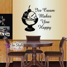 Vinyl Decal Ice Cream Makes You Happy Phrase Dessert Kitchen Cafe Decor 777