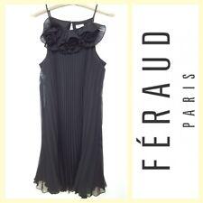 Louis Feraud $1,850 black plisse chiffon party dress w/florets~L