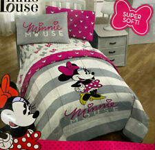 Disney Minnie Mouse Twin Size Microfiber Comforter Super Soft Gray Pink