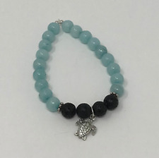 Blue Amazonite Essential Oil Lava Bead Bracelet Turtle Charm