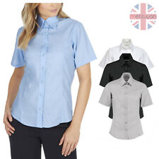 Womens Ladies Plain Short Sleeved Shirt Work Formal Office Business Tailored Fit