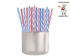 12-24 Pack Reusable Thick Red-Blue Candy Striped Hard Plastic Drink Straws BPA/F