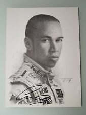 Lewis Hamilton F1 Hand Signed Autographed Black & White Print