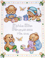 Cross Stitch Kit ~ Design Works / Tobin Baby Bear Sampler Birth Record # T21711