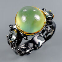 Prehnite Ring Silver 925 Sterling Vintage4ct+ Size 8 /R128330