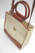 Etienne Aigner Beige Woven Fabric & Brown Leather Trim  Shoulder Bag / Handbag